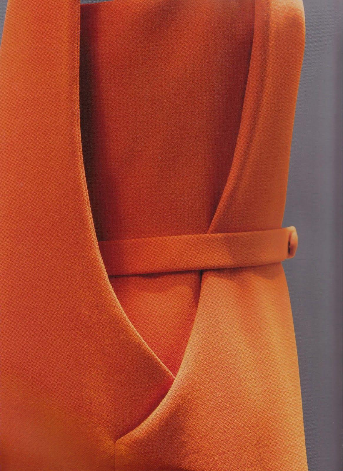 Day dress in orange wool crepe, side view, c. 1968