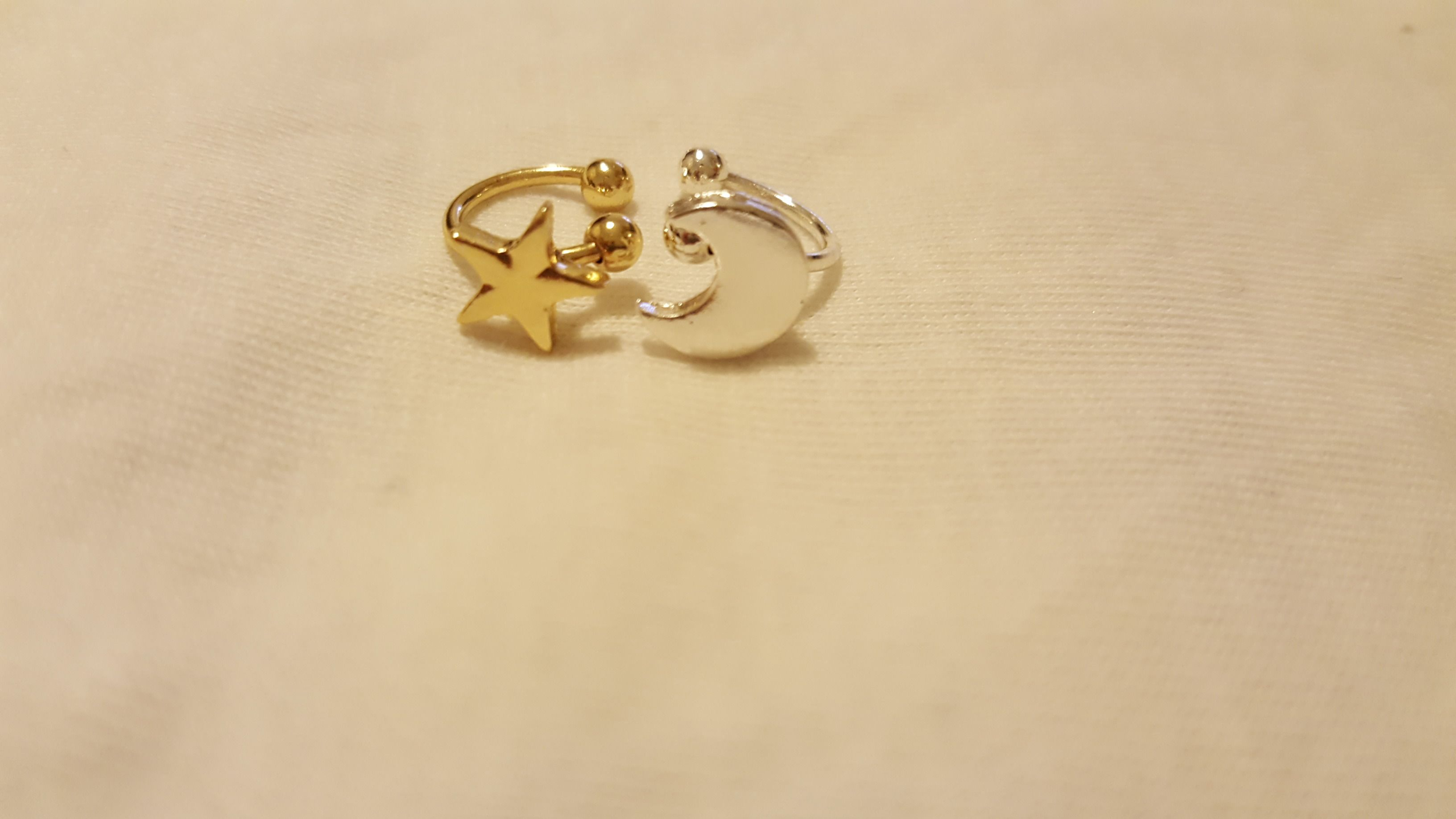 Clip Earrings With Shape Of Moon Heart Star