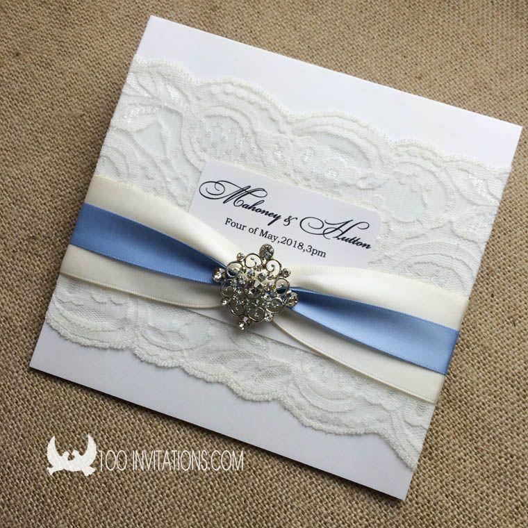 Double Ribbons Rhinestone Decoration Pocket Fold Lace Wedding Invitation