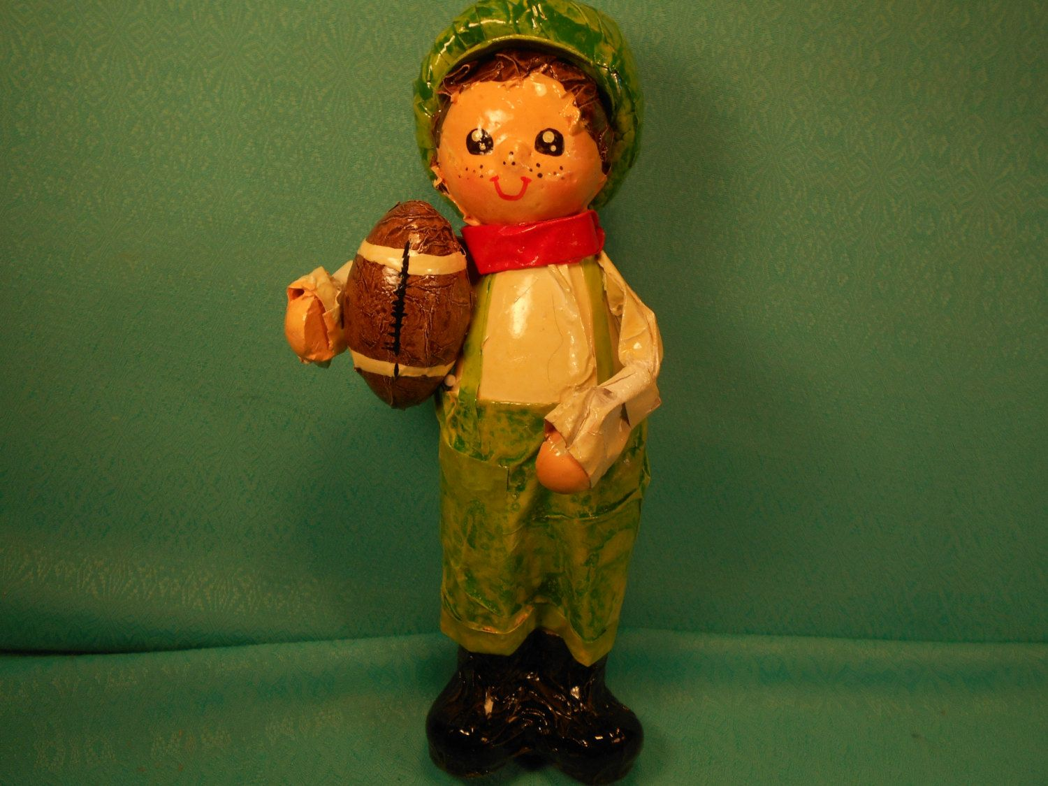 Vintage Ornament, Paper Mache Christmas Ornament, Paper Mache Boy With Football by SETXTreasures on Etsy