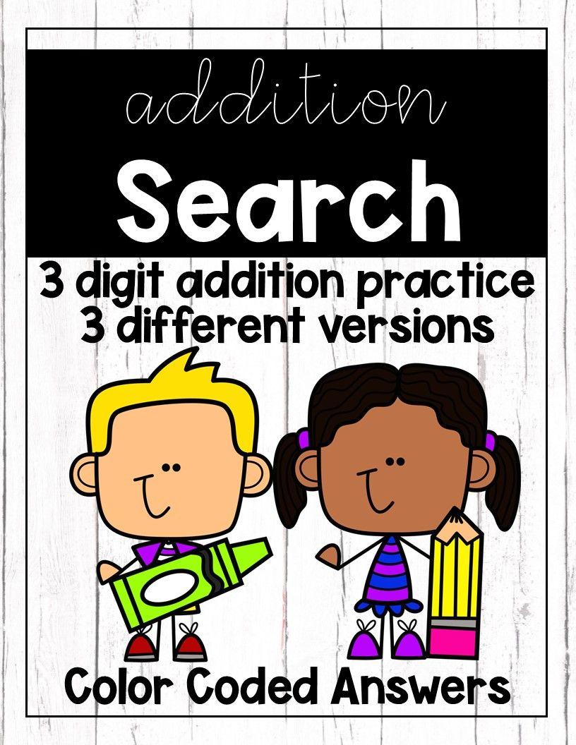 3 Digit Addition Searchs Addition Practice 3rd Grade Math Partner Work [ 1056 x 816 Pixel ]