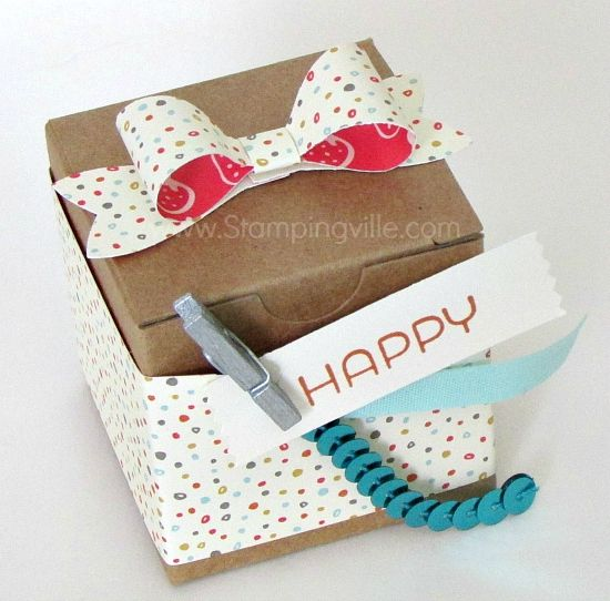 Tiny Treat Box decorated for a birthday with Stampin' Up! Bow Builder Punch, Cottage Greetings stamp set and sequin trim, ribbon and greeting held with Mini Metallic Clothespin.
