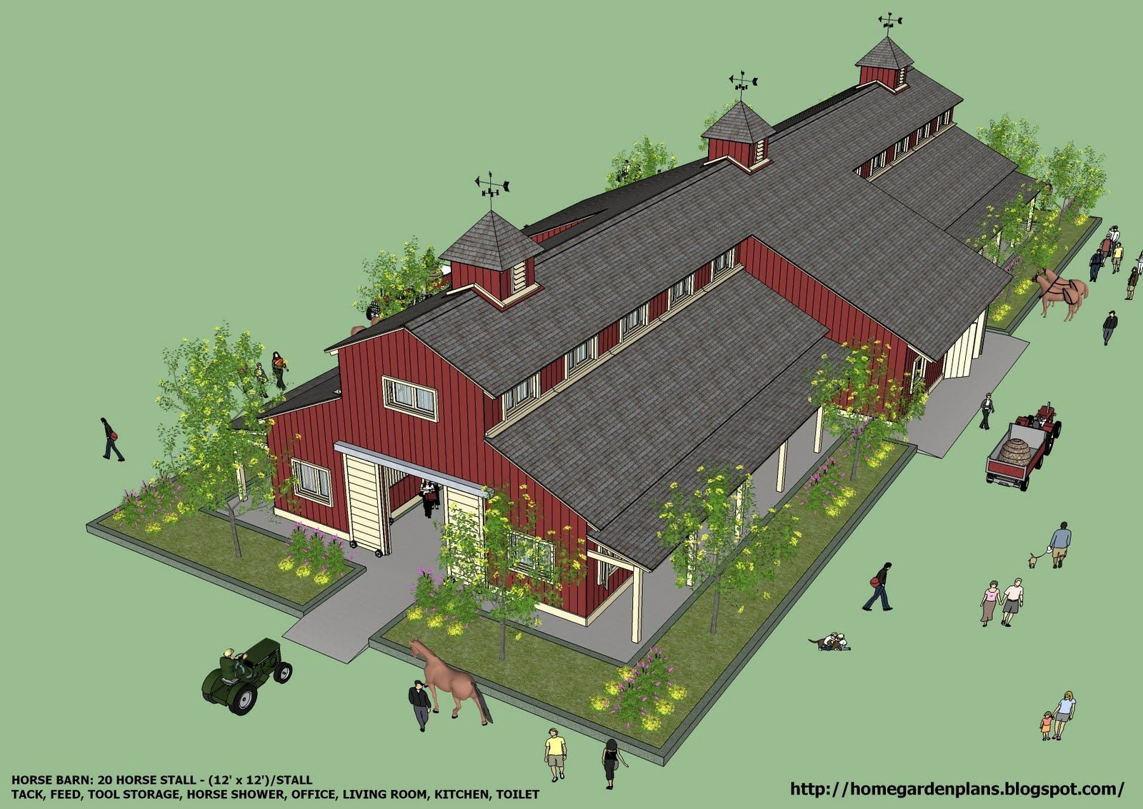 home garden plans: B20H - Large Horse Barn for 20 Horse ...