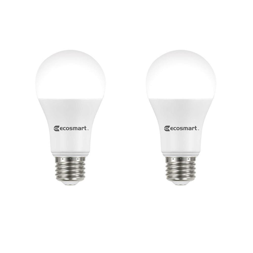 Ecosmart 75 Watt Equivalent A19 Dimmable Energy Star Led Light Bulb Bright White 8 Pack Light Bulb Light Bulb Wattage Bulb