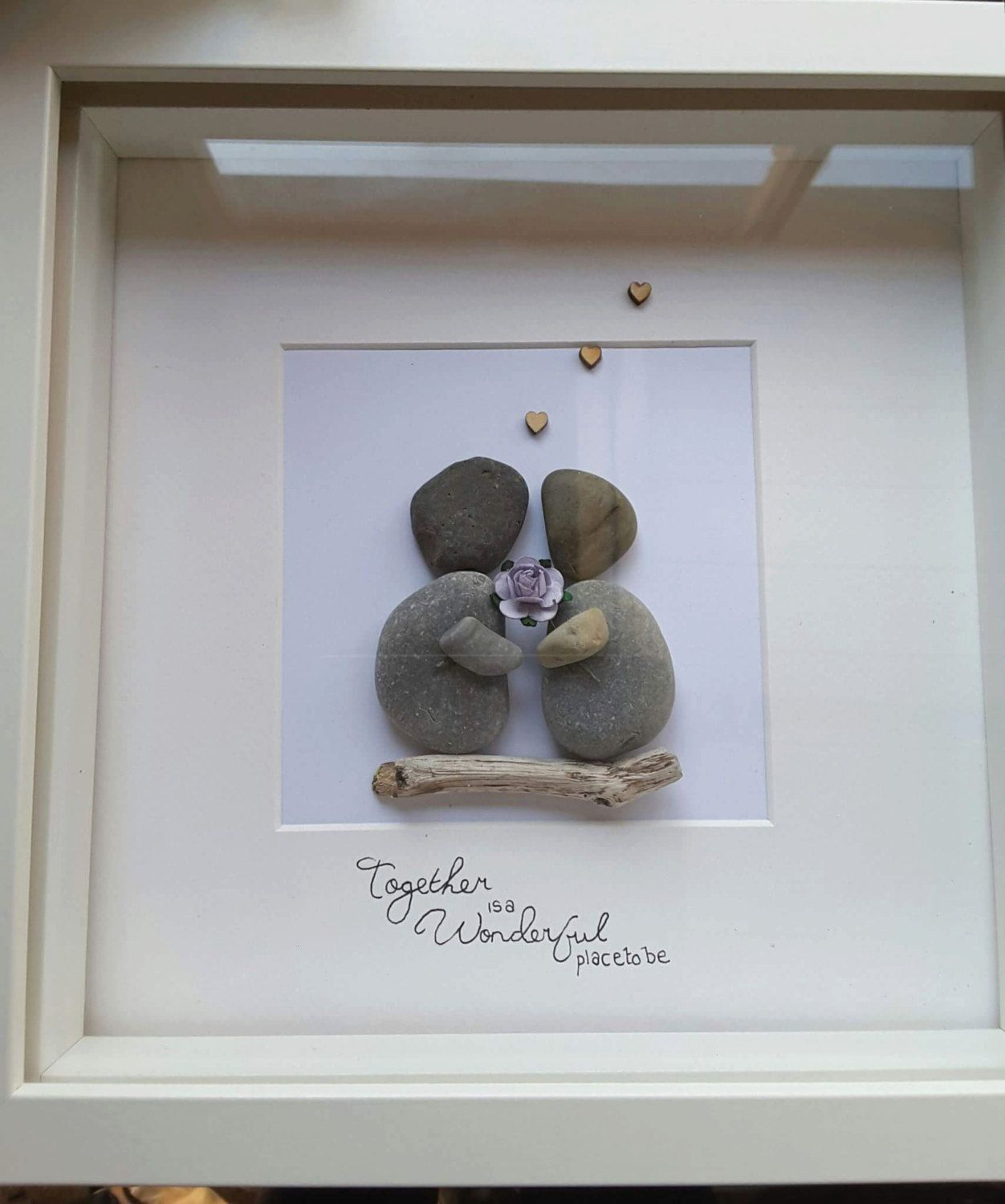 Personalised Gift Pebble Art Picture Family present Dad mum together ...