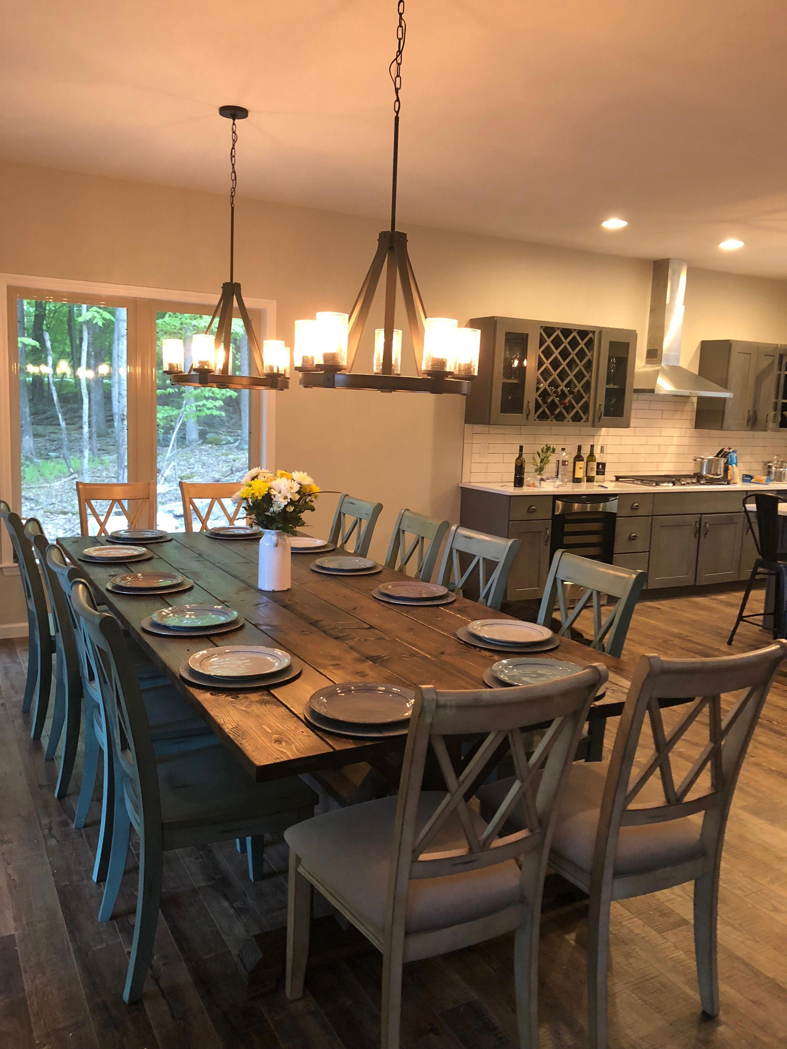 Two Light Fixtures Over Dining Room Table Dining Room Dining Table Rustic Large Farmhouse Table Farmhouse Dining Room Table