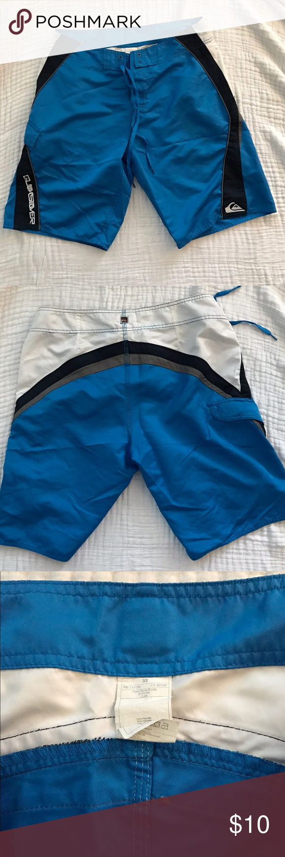 Quiksilver Swim Suit Blue and white board shorts. Size 33. In excellent condition. 20.5 inches long with 11 inch inseam. Quiksilver Swim
