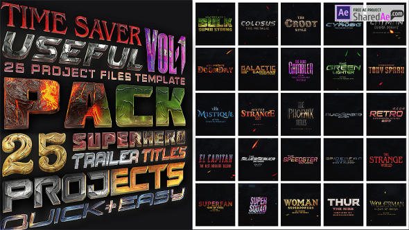 Videohive - 25 SuperHero Trailer Titles Pack 19262522 - Free Download