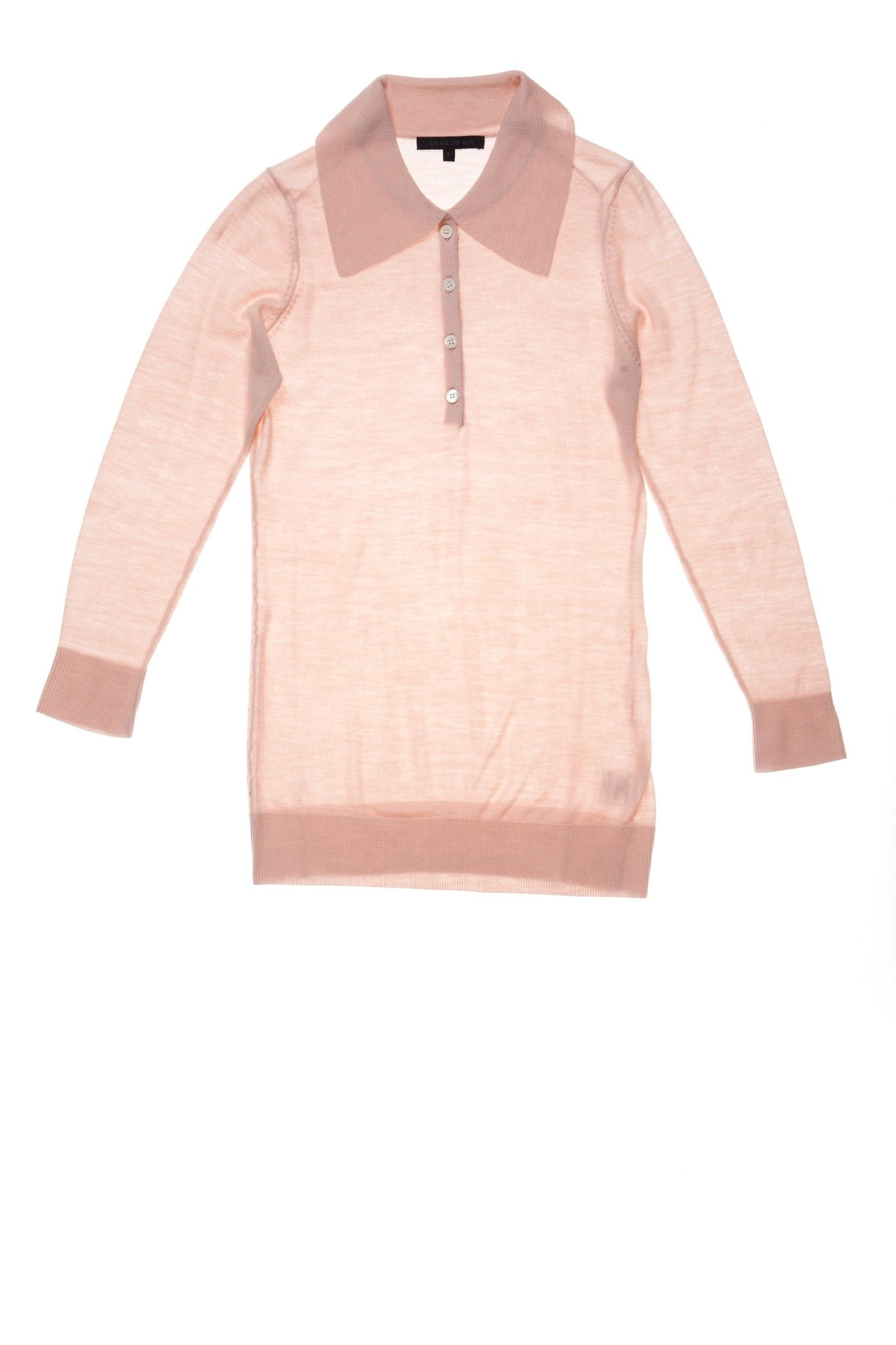 Toni | 3/4 sleve polo | Extra-Fine Merino Super 140 #cavadesoi #cvds #knitwear #fashion #wool #merino #polo #sweater #pink #rose #geisha // February