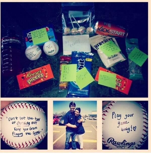 My friend is such a sweetheart for doing this for her boyfriend.! #baseball #younglove