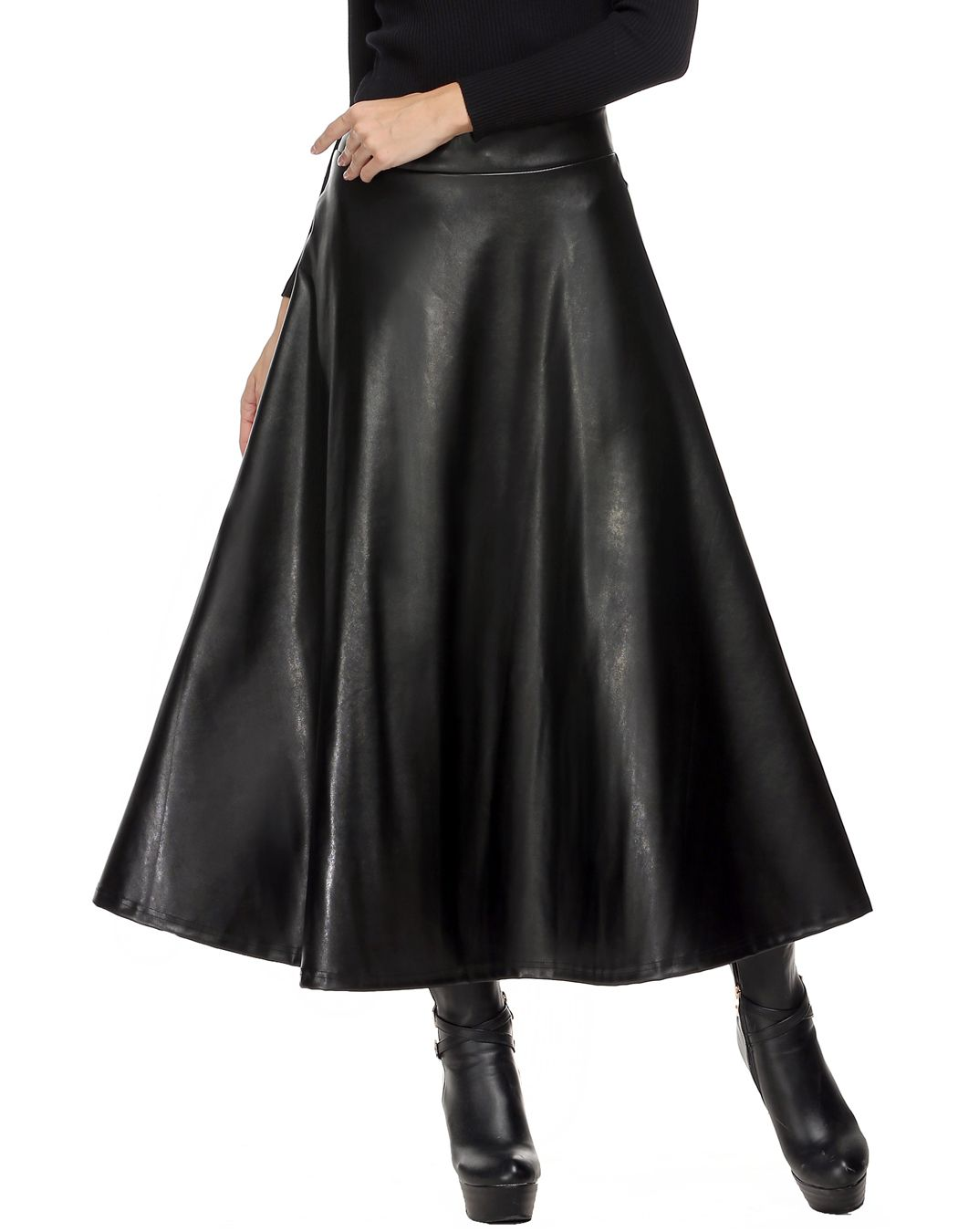 Lange röcke frauen sommer hight taille maxi rock pu leder schlank frühjahr herbst vintage mode plissiert swing rock schwarz