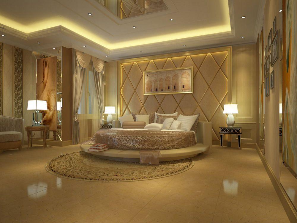 Bedroom Designs Unique golden based luxury master bedroom design with unique bed | master