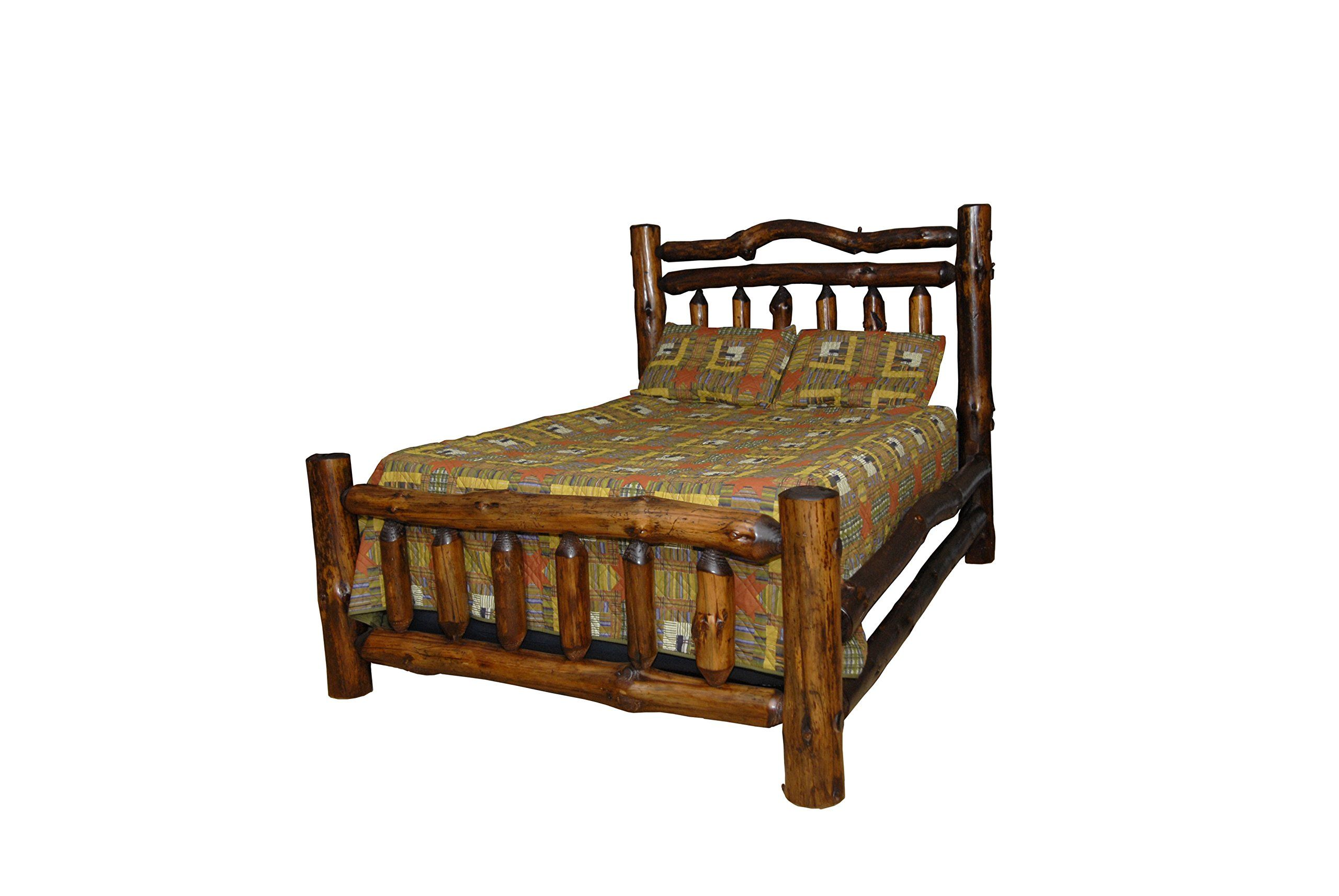 Rustic Pine Log Double Top Rail Bed King Size Amish