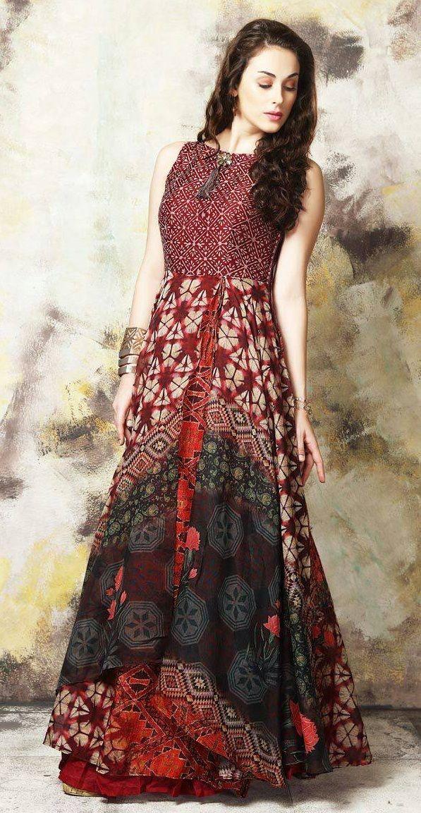 Printed 5 Meter Flair Designer Party Wear Gown Lookies ...
