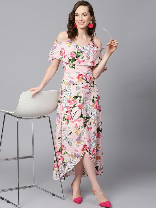 1ea7bbb328 SASSAFRAS Women Pink Printed Layered High-Low Maxi Dress - | 664 ...