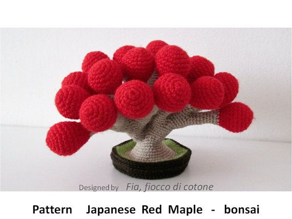 Amigurumis Muñecas Japonesas : Pattern japanese red maple bonsai amigurumi crochet seamless