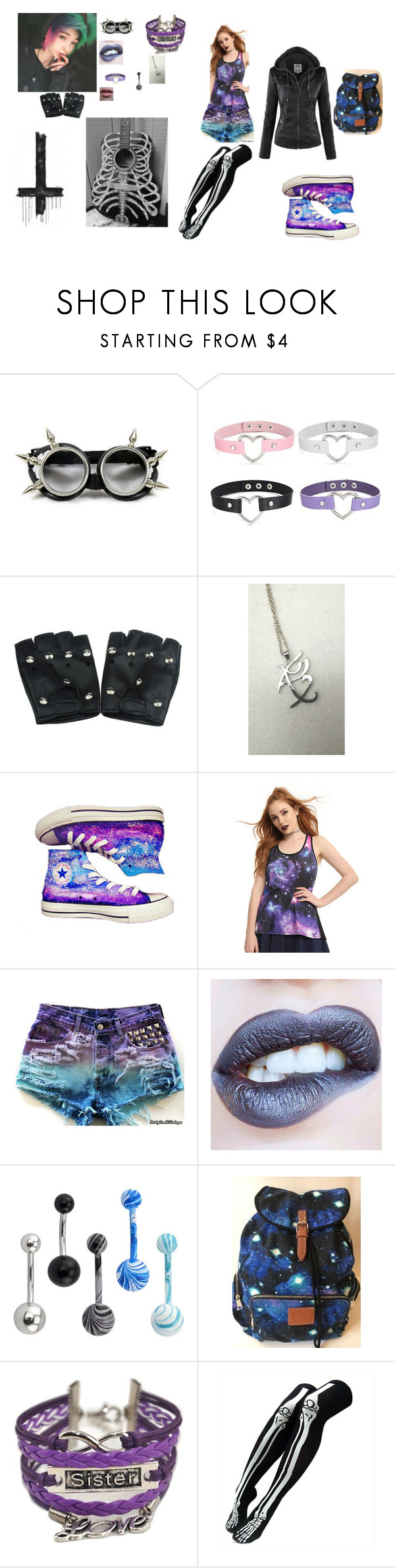 """""""this is the awesomest set i created"""" by zoeythehumanespeon ❤ liked on Polyvore featuring Rune NYC, Converse, Victoria's Secret, Garcia, tabbisocks, awesome, me, alternative and RandomAF"""