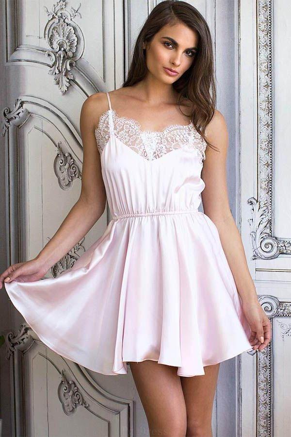 Fine Prom Dresses Pink Lace Short Light Pink Chiffon Homecoming ...