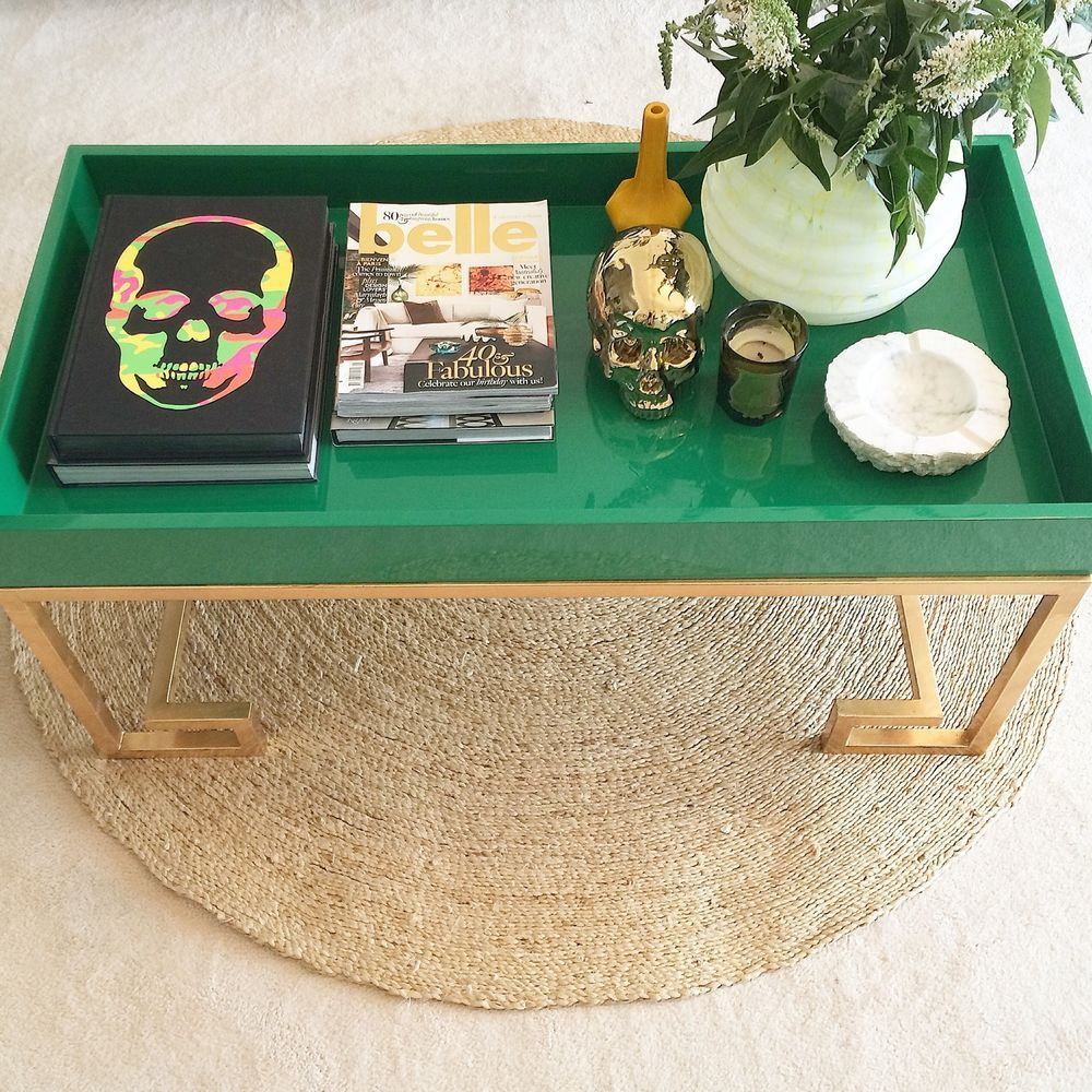 Hollywood Regency Gold & Emerald Green Coffee Table New in Home & Garden, Furniture, Tables | eBay