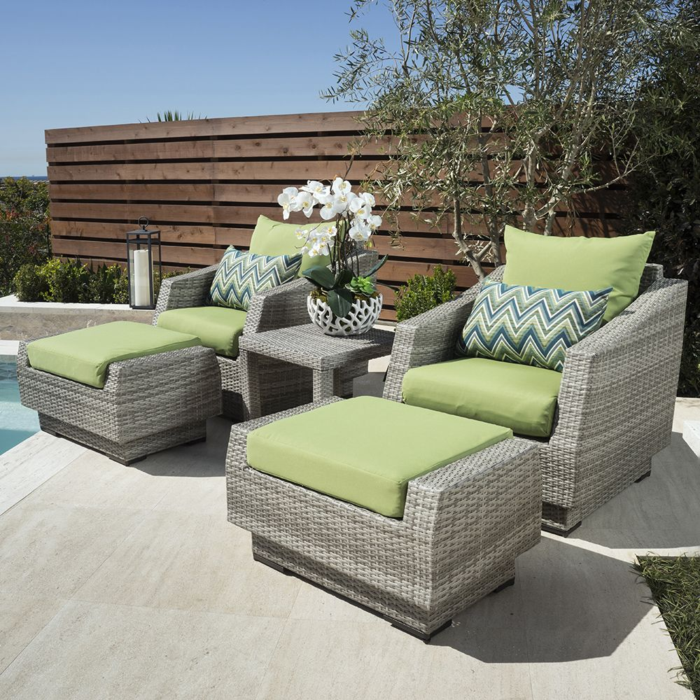 Cannes 5pc club chair and ottoman set ginkgo green