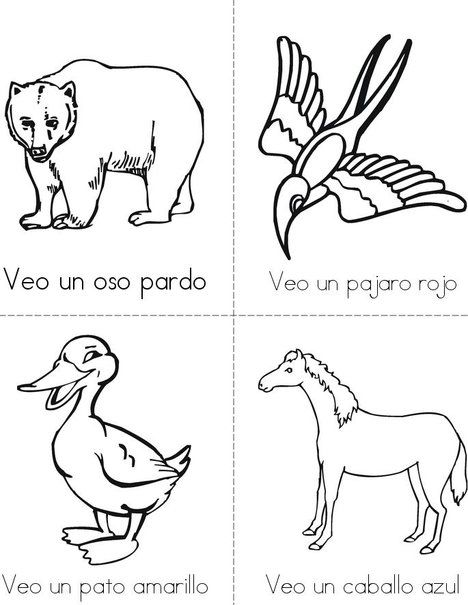 Oso pardo, oso pardo, que ves ahi? Students\' Mini book Vocabulary ...