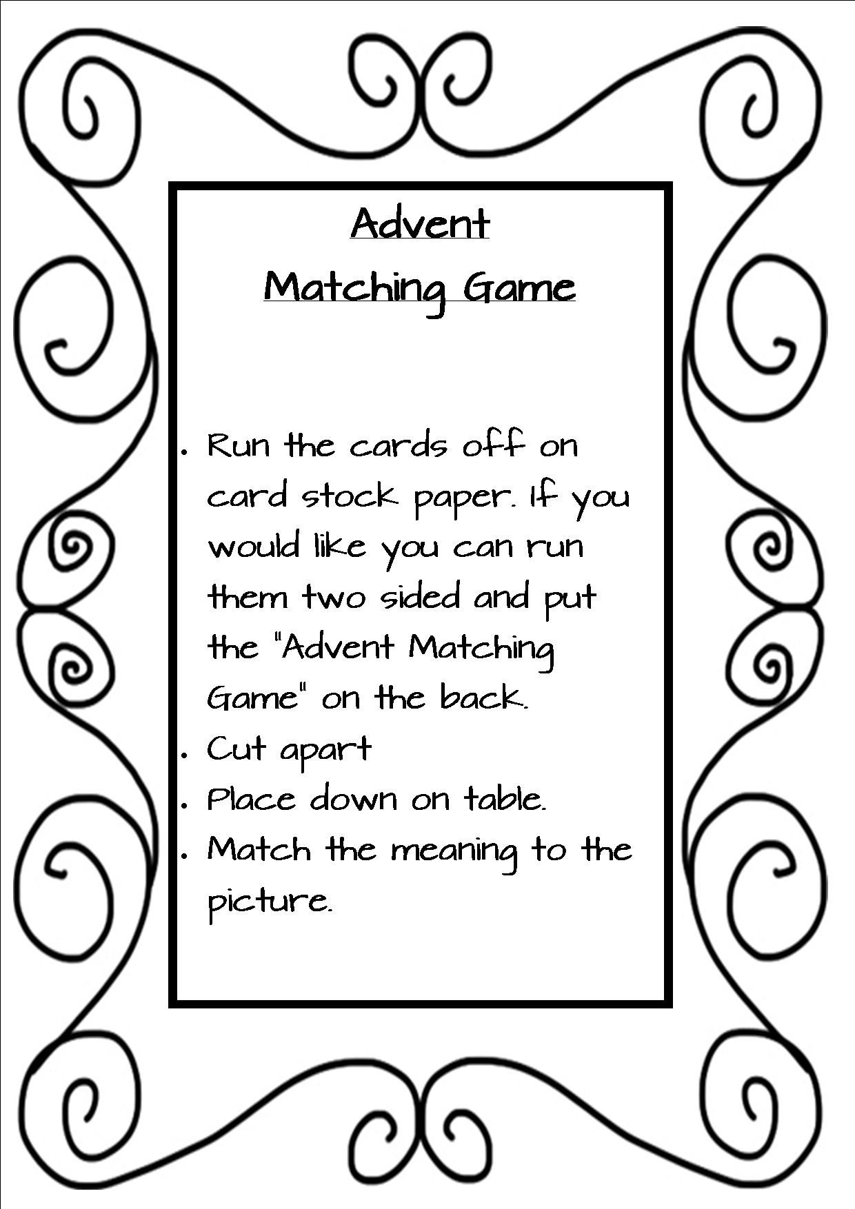 Advent Matching Game Catholic Pinterest Pinterest Advent