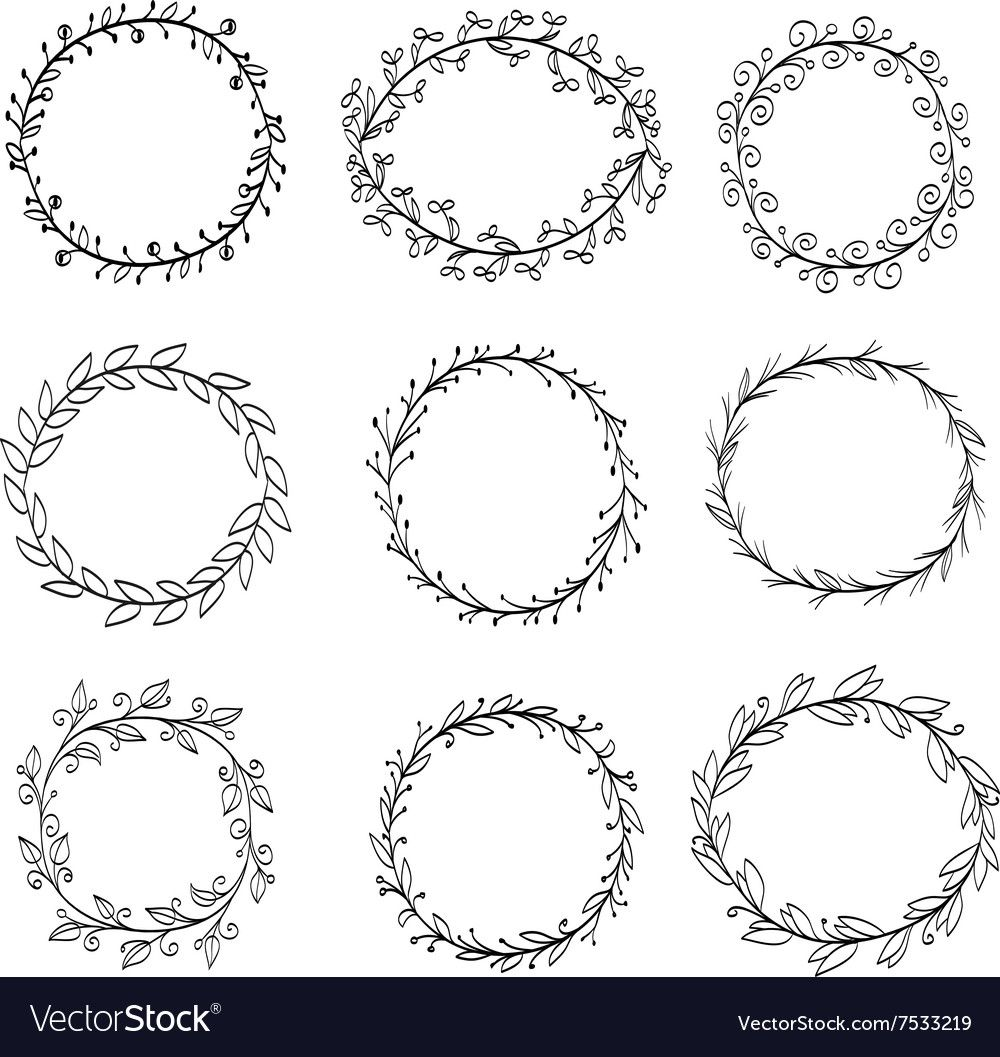Photo of Doodle frame from wreaths. Download a free preview or high quality Adobe Ill …