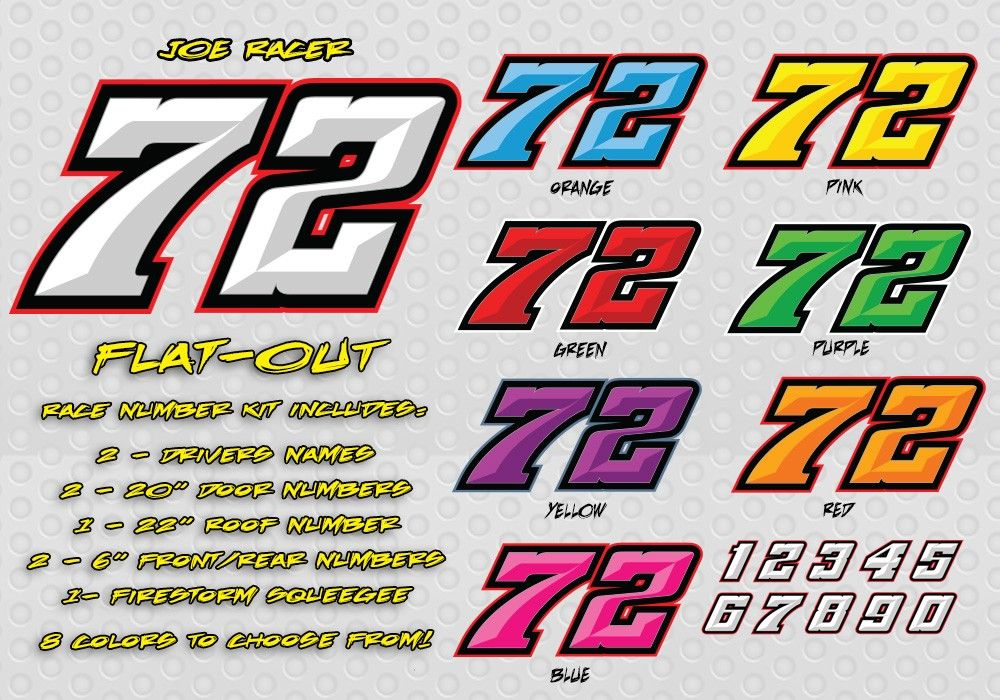 Flat Out Race Car Number Decals Lettering Number Fonts Numbers Font Lettering