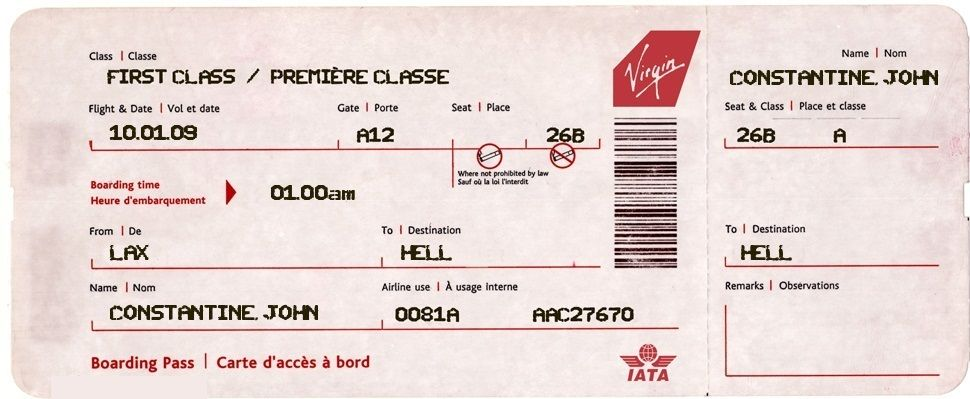 Airplane Ticket to Hell #Constantine funnies Pinterest