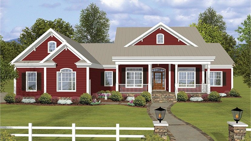 home plan homepw77464 2294 square foot 3 bedroom 3 bathroom ranch home with 2 - Country Style Ranch Home Plans