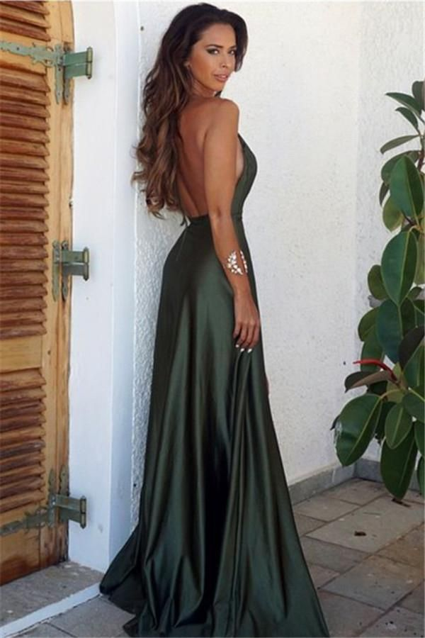 B| Chicloth Long V-Neck Backless Simple Split Elegant Prom Dress – Dress