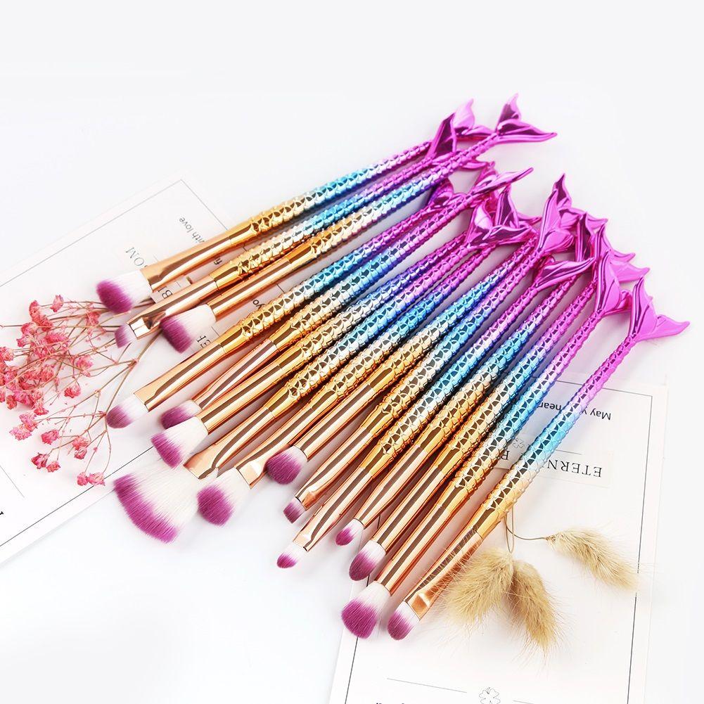 15 pcs Mermaid Make Up Brush Set Pędzle do makijażu