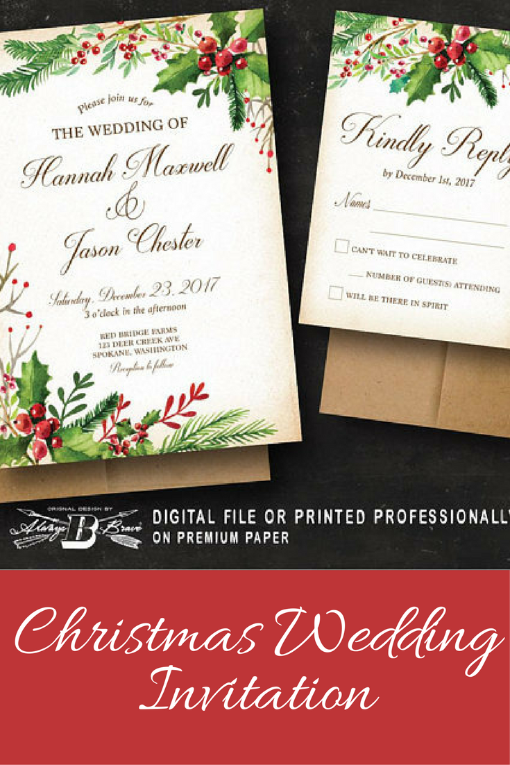 Rustic holly Christmas/Holiday Wedding Invitations #ad ...