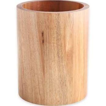 Acacia Round Utensil Crock Dark Wood Utensil Holder D E C O R