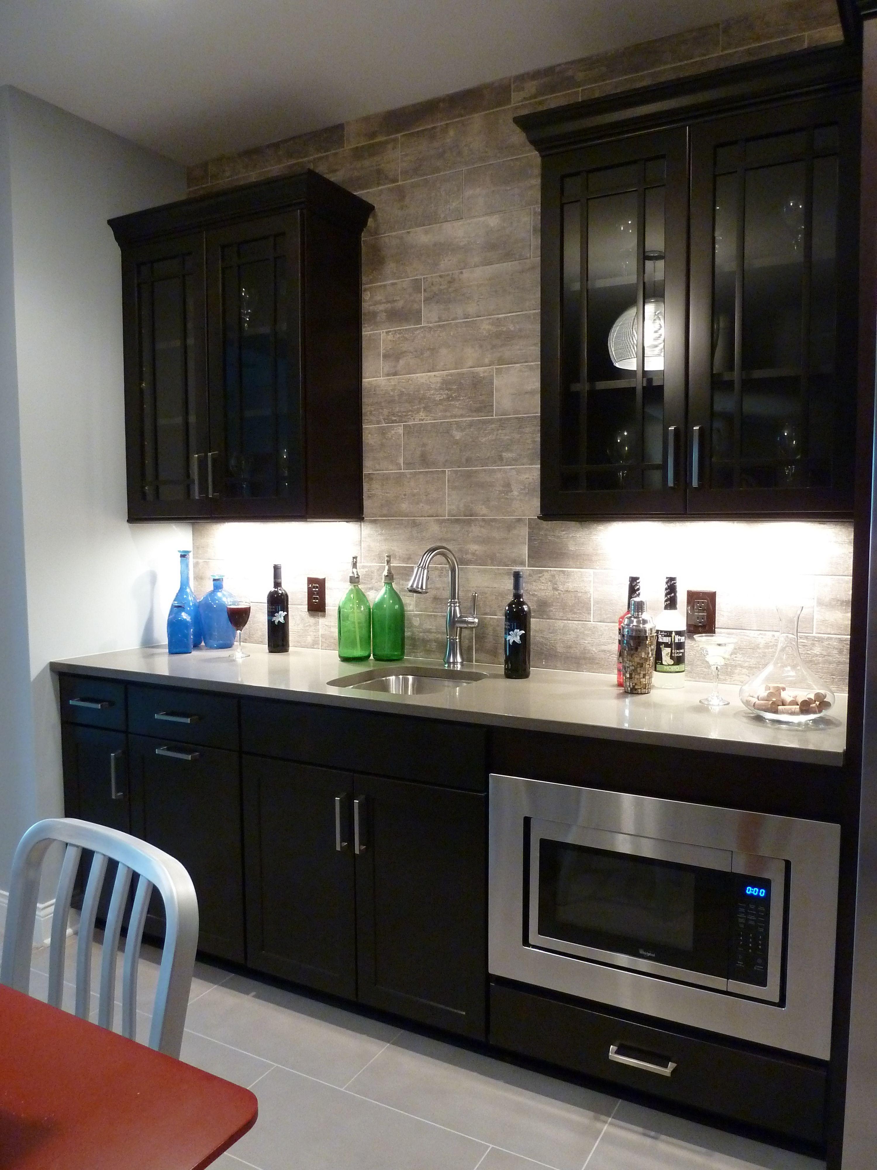 - Wood Look Tile Backsplash, Grey Floor Tile Grey Tile Kitchen