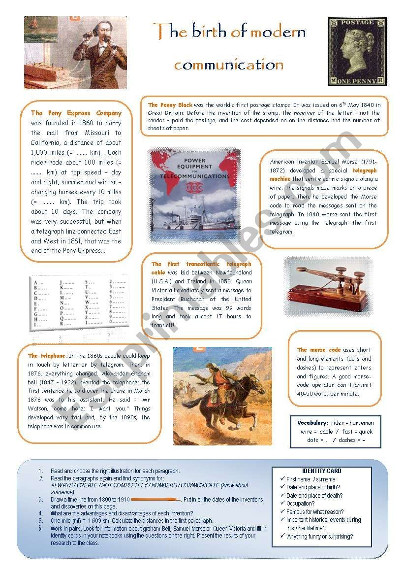 The Birth Of Modern Communication Esl Worksheet By Estelle73 Esl Worksheets Communication Vocabulary Worksheets