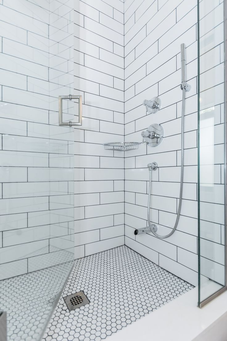 Classic White Subway Tiled Shower With Soho 4x16 G