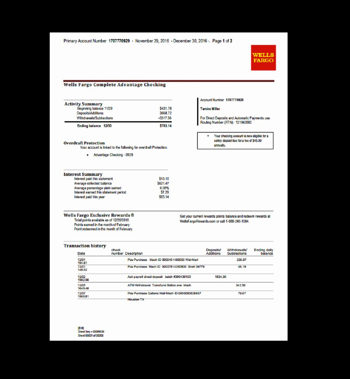 Bank Of America Statement Template Unique Bank Statement Wells Fargo Template Fake Custom Statement Template Credit Card Statement Bank Statement