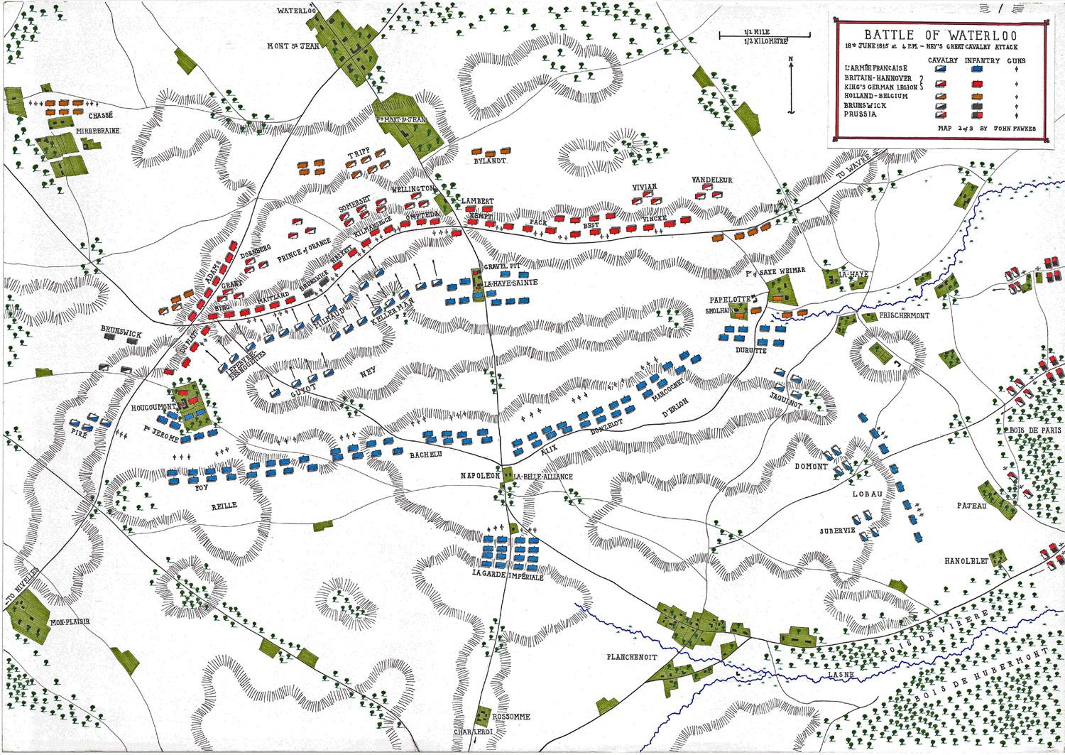 Map of the Battle of Waterloo at 4pm on 18th June 1815 ... Map With Battles Of Napoleon S All on timeline of napoleon's battles, map of grant's battles, map of world war 1 battles, map of civil war battles, map of alexander's battles, map of napoleon bonaparte battles, map of george washington's battles, map of mexican war battles, map of texas battles,