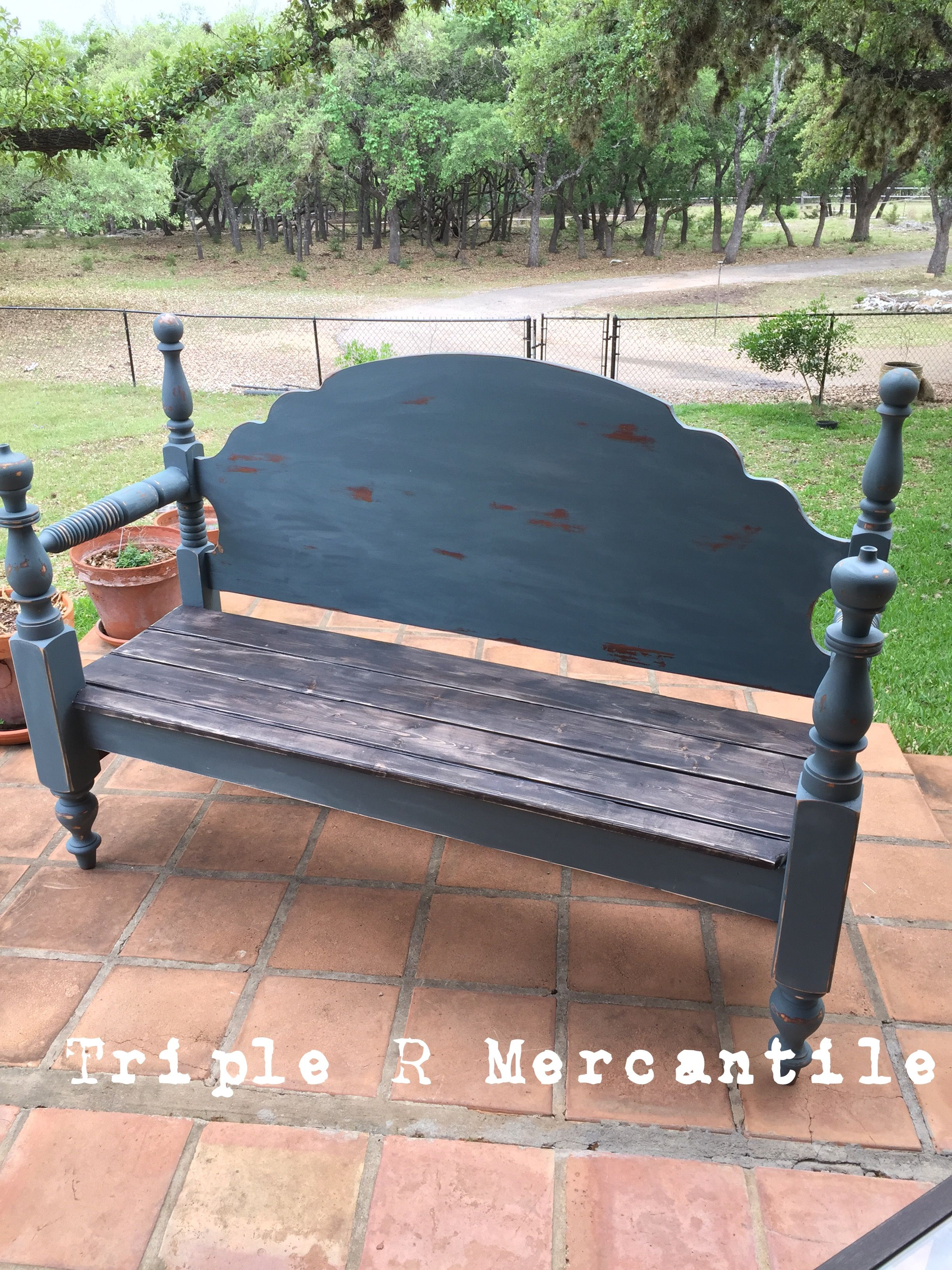 Queen sized headboard bench painted in Stormy Seas with