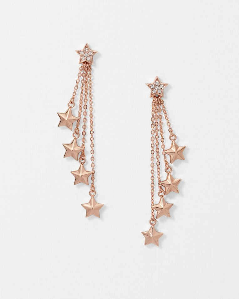 Crystal Star Drop Earrings Rose Gold Jewellery Ted Baker Uk