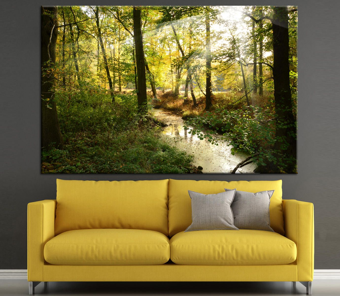 Forest river and the sun colorful Large Photoprint Multi Panel ...