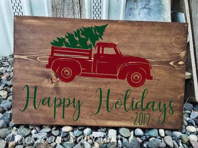 Happy Holidays Vintage Truck Sign