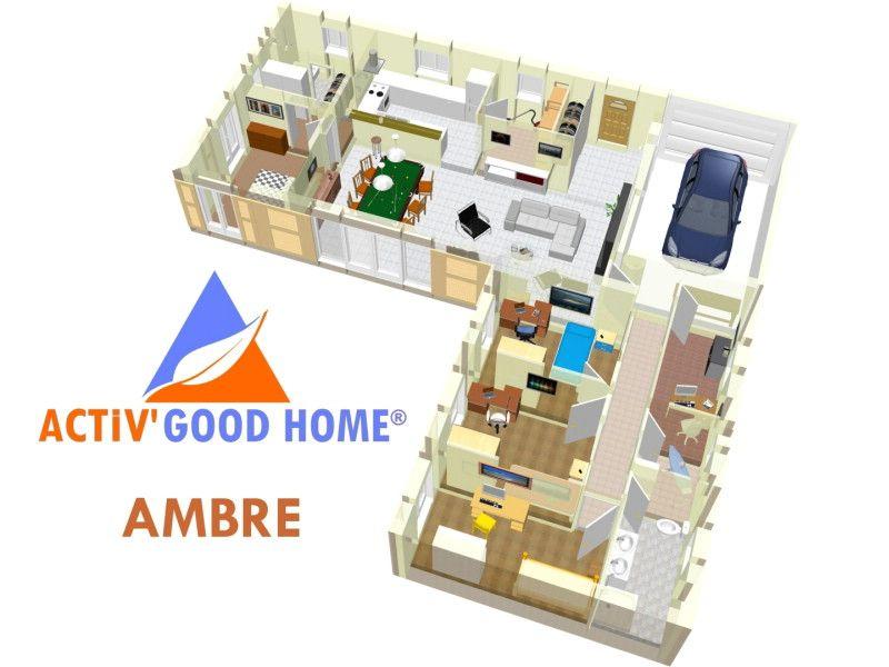 Maison bio-climatique en L avec un côté pour la suite parentale - plan maison avec cotation