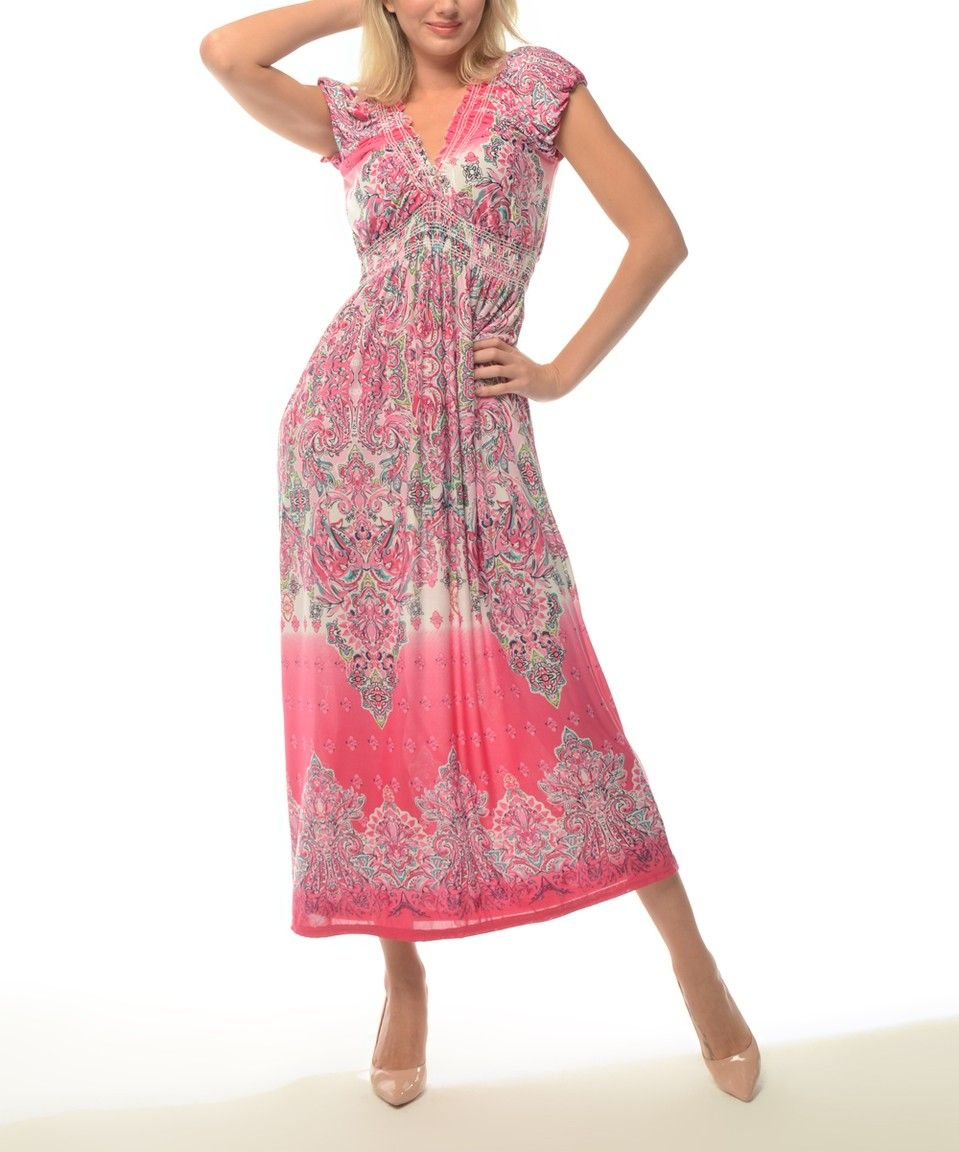 Pink v neck maxi dress  Take a look at this Pink Tapestry VNeck Maxi Dress  Plus today
