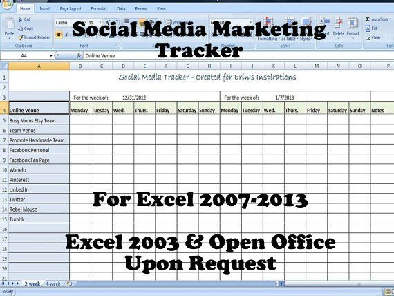 Social Media Marketing Tracker, Editable Printable to Keep Track of