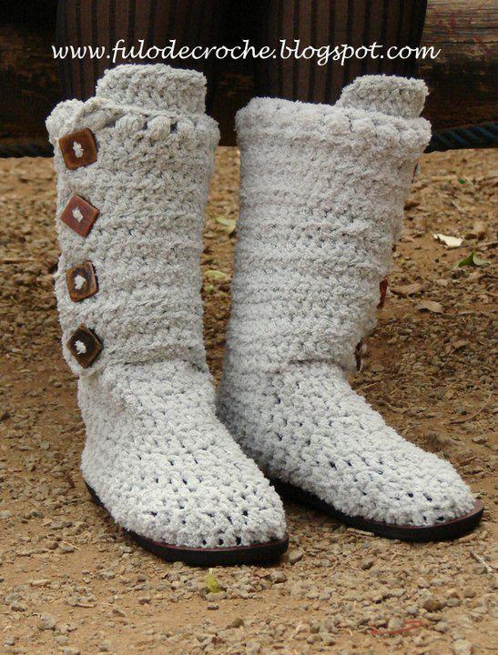 Botas tejidas con gancho (imagen de internet)   ¡Quiero tiempo ...