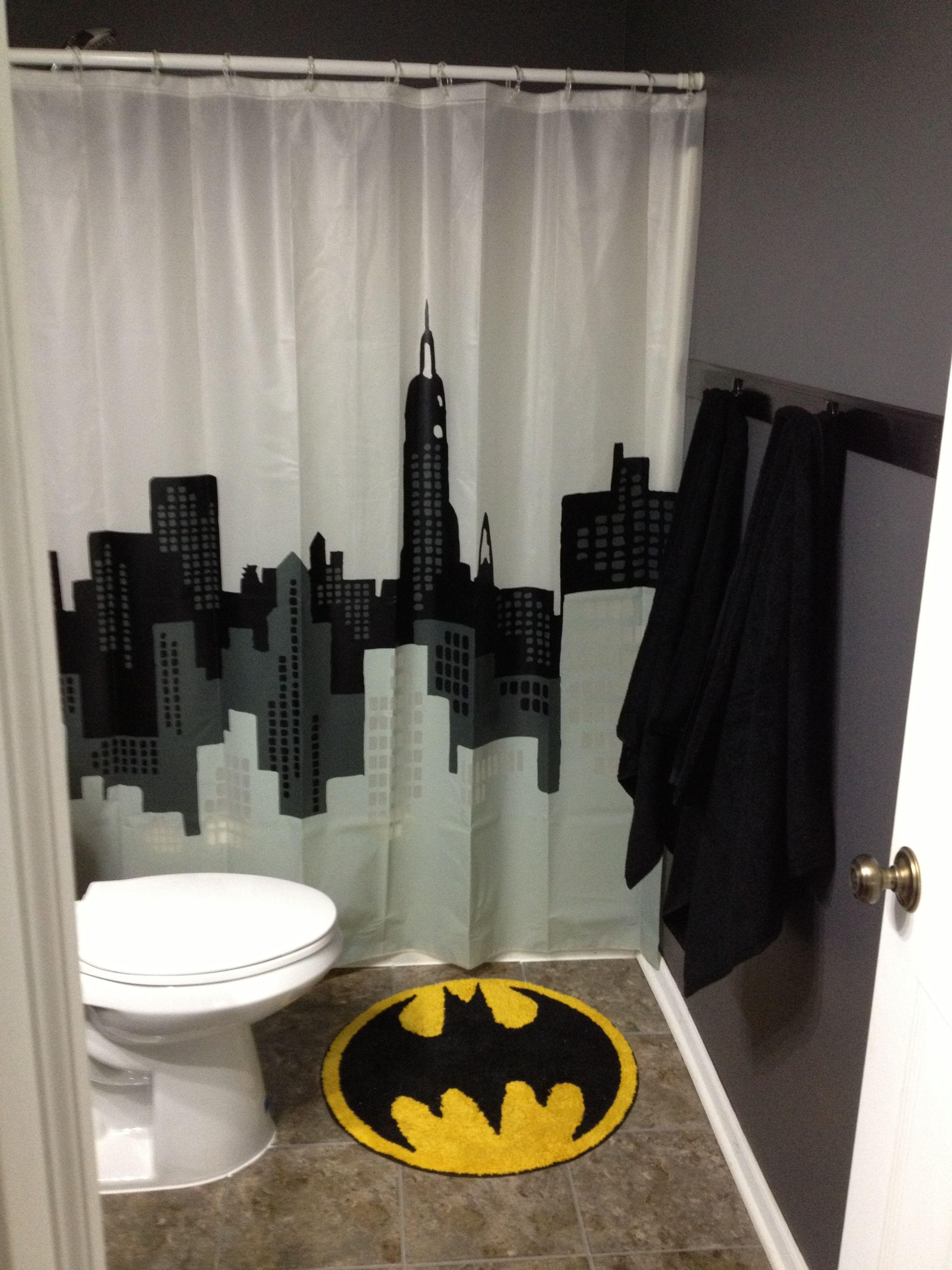 Batman Bathroom For Downstairs Near Mancave And Kids Rec Room