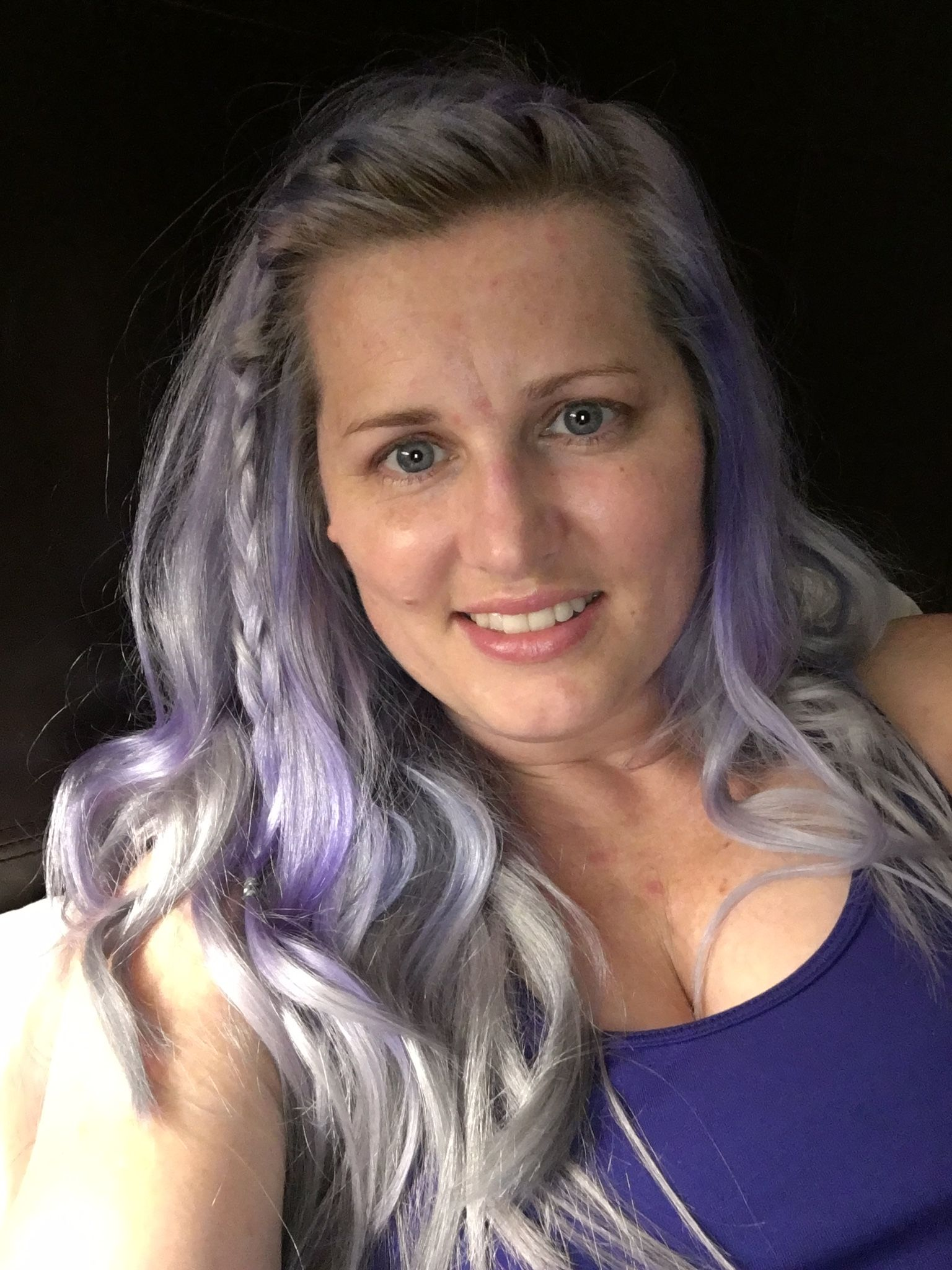 Lavender, shark blue over bleached blonde hair, ion color