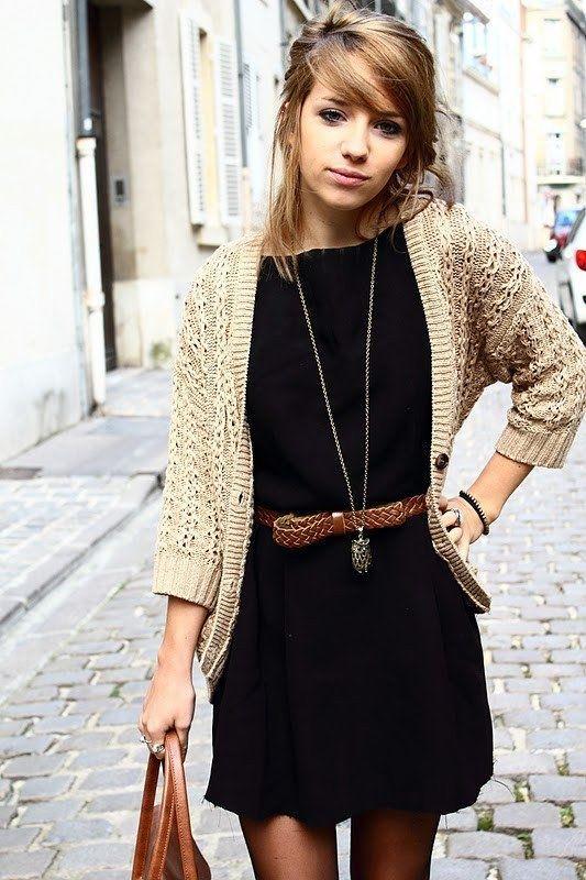 Style / Black dress, tan cardigan, belt, long necklace. I love ...